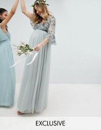 Shop Maya Maternity Bridesmaid V Neck Maxi Tulle Dress with Tonal Delicate Sequins at ASOS. Bridesmaid Dresses, Wedding Dresses, Tulle Dress, Maya, Asos, Maternity, Delicate, Sequins, V Neck