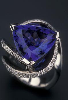 This beautiful tanzanite gemstone is set in an award-winning platinum and diamond ring.