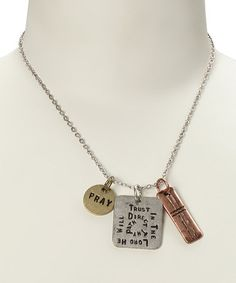 This Tri-Tone 'Trust in the Lord' Pendant Necklace by Gabrielle Jewelry is perfect! #zulilyfinds