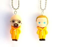 Breaking Bad pendants, Walter White and Jesse Pinkman, polymer clay handmade