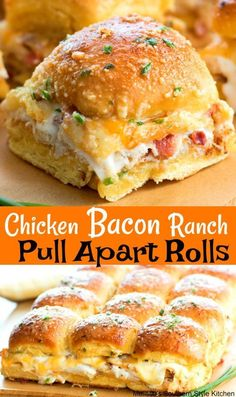 Love how easy these Chicken Bacon Ranch Pull Apart Rolls are to make Perfect for feeding a crowd! Chicken Bacon Ranch Pull A. Easy Dinner Recipes, Appetizer Recipes, Meat Appetizers, Game Day Recipes, Party Food Recipes, Quick Meals For Dinner, Superbowl Party Food Ideas, Quick Party Food, Sandwich Appetizers