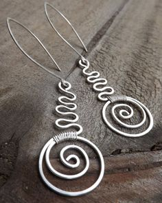 Modern Sterling Silver Spiral Earrings Wire by maryannefountain