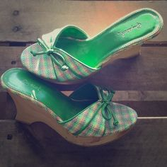 Green Print Wedges These are adorable! Preloved but lots of life left. Normal wear and tear. Qupid Shoes Wedges