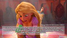 """I love the scene where Rapunzel is whispering to Pascal about whether or not to go with Flynn while he is still tied to the chair. The look on his face is priceless. Dreamworks Animation, Disney Animation, Disney And Dreamworks, Disney Pixar, Funny Disney Memes, Disney Jokes, Disney Facts, Disney Conspiracy, Disney Theory"