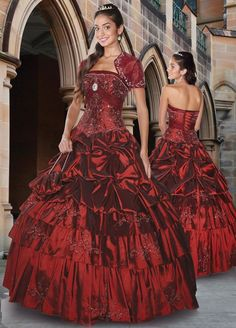 Burgundy Quinceanera Dress With Layered Full Skirt