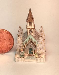 OOAK Miniature Dollhouse Christmas Putz Church Cathedral Glitter House Angel #OneOfAKind