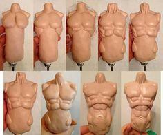 Art Technique - Sculpting the Human Male Torso With Polymer Clay Polymer Clay Dolls, Polymer Clay Projects, Clay Crafts, Sculpting Tutorials, Clay Tutorials, Sculpture Clay, Sculptures, Clay Figures, Doll Tutorial