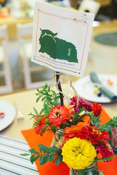 Centerpieces at a camp-out wedding