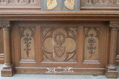 heavily carved full oak altar + tabernacle, bronze angels, w. 310 cm / 10 ft , h. 500 cm / 16 ft height, deep 125 cm / 49