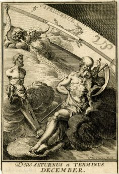 Plate 13: December. The Roman god Saturn on a cloud at centre, Terminus as a term statue at left, a putto blowing something towards Saturn; the zodiacal sign of Capricorn beyond.  1698 Engraving