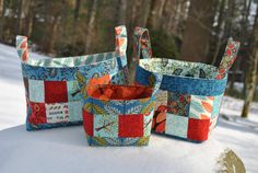 PDF Patchwork Fabric Basket PATTERN, mini charm friendly, three sizes, Basket of Charms