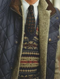 clothesandgents: thewell-dressed: (via drechristian, homme-du-monde) Layering. I need me some Fair Isle. Suit Fashion, Look Fashion, Winter Fashion, Mens Fashion, Fashion Menswear, Fashion Outfits, Preppy Mode, Preppy Style, Preppy Guys
