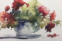 Afternoon Geraniums by Sandy Strohschein Watercolor ~ 12 x 18