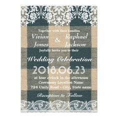 Rustic Lace and Linen Wedding Invitation