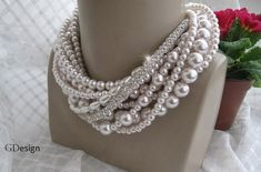 Chunky layered Wedding powder pink glass pearl necklace,rhinestone cylinder chain,Bridal  Pearl and Rhinestone Necklace on Etsy, $87.43 CAD