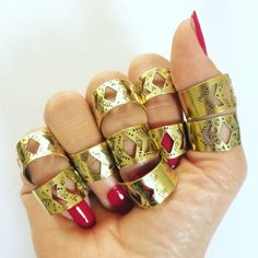 StuffMadeFromThings shared a new photo on Etsy Geometric Jewelry, Bohemian Gypsy, Statement Rings, Wicca, Hand Stamped, Aztec, Jewelry Making, Wedding Rings, Brass