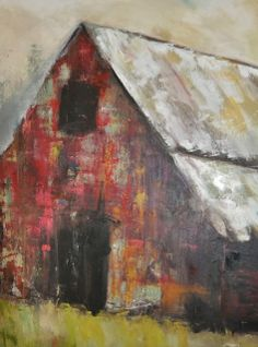 Tyus by Lisa Moore Oil ~ 40 x 30 Fine Art, Painting, Painting Subjects, Art, Abstract, Building Painting, Barn Art, Landscape Art, Barn Painting