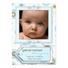 boy blue polka dot and stripes baby announcement make your own invites more personal to