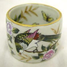 Overstock.com Sylvia Bird-pattern Porcelain Napkin Rings (Set of 4)