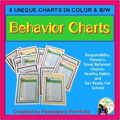 Help kids stay on track with these great versatile Behavior and Chore Charts!  These charts are great for teachers, parents, specialists, and kids.  Teachers can use them in the classroom by incorporating them into character education lessons, or send them home to parents as needed.