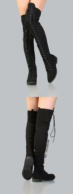 Lace Up Faux Suede Thigh High Boots BLACK