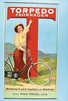 "M2828.jpg (380×565) Fahrrad-Werbeplakat, ca. 1910, 75x41,5 cm, ""Torpedo Fahrräder"", Fahrradfahrerin in Landschaft, Design: Fritz Schneller/Nürnberg, guter Zust."