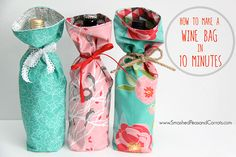 Fabric wine bottle bag - Tutorial Make a Wine Bag in 10 Minutes – Fabric wine bottle bag Small Sewing Projects, Sewing Ideas, Sewing Crafts, Easy Projects, Sewing Patterns, Diy Crafts, Creative Gift Wrapping, Wine Bottle Holders, Pot Holders