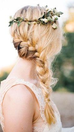 Floral + Blond + Headband + Side Braid