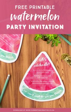 These cute free printable watermelon party invites will be perfect for your summer or pool party! Simply download the PDF template, fill in your text and print out. Hmmm! Click here to download.