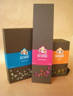 Nirvana Gourmet Packaging - Branding and packaging for imported gourmet chai tea, basmati rice and mogra incense. The overall design is influenced by traditional Indian silks and paisley fabric pattern