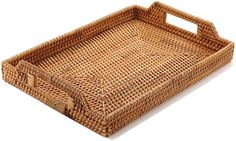 Hand-Woven Rattan Rectangular Serving Tray with Handles for Breakfast, Drinks, Snack for Dining/Coffee Table inch Wicker Tray, Rattan, Bar Tray, Serving Trays With Handles, Breakfast In Bed, Decorating Coffee Tables, Wooden Handles, Hand Weaving, Amazon