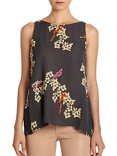 Rachel Roy Layered Printed Silk Blouse