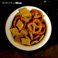 Architecture of a Mom: Mild Taco Flavored Chex Mix.  You could make this gfcf with a butter substitute and in other goodies as well.  Maybe some nuts or another protein source?