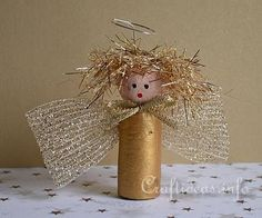 Precious Golden Wine Cork Christmas Angel | Don't throw out that wine cork! Instead, make this adorable little Christmas angel.