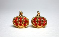 Vintage Avon Precious Pumpkin Rhinestone Earrings by WeBos on Etsy, $10.00