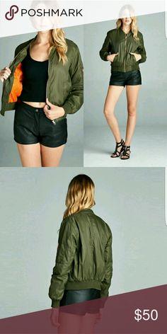 *** SALE*** Olive bomber jacket Medium weight, 100% nylon, nylon twill padding. April Spirit Jackets & Coats