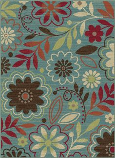 DCO1009, Blue, Machine Made, Tayse Clearance, Floral available from rugsdoneright.com