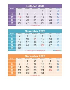 Free Printable 3 Month Calendar 2020 Oct Nov Dec PDF, Excel – Free Printable 2020 Monthly Calendar with Holidays 3 Month Calendar, Printable Calendar 2020, Excel Calendar, December Calendar, Blank Calendar, Calendar Templates, Letter Templates, Helping People