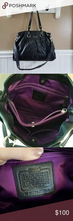 """EUC Black Leather Coach """"Ashley"""" Handbag Beautiful like new black leather Ashley with silver accents and violet lining. Immaculate interior. No rips, tears, wear, or markings! Give her the home she deserves today! Approximate dimensions above. Coach Bags Satchels"""