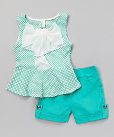 Another great find on #zulily! Mint Polka Dot Bow Peplum Top & Shorts by Just Kids #zulilyfinds