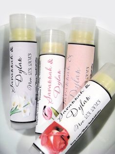 20 Wedding Favor Lip Balm Bridal Shower Favors Lip Balm Party Favors Customized Personalized Lip Balms Set of 20. $50.00, via Etsy.