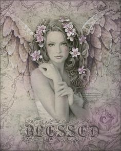 BLESSED inspirational Victorian vintage angel art print with roses, 8 x 10.