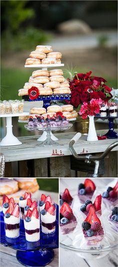 Red white and blue dessert for your Fourth of July. #weddingchicks http://www.weddingchicks.com/2014/06/24/red-white-and-blue-wedding-ideas/