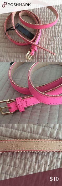 J Crew Leather Belt J Crew pink leather belt with gold beaded trim 5/8 inch wide, never worn J. Crew Accessories Belts