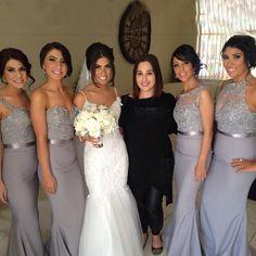 Beautiful Mermaid Floor Length Chiffon Grey Bridesmaid Dress With Beading Appliques