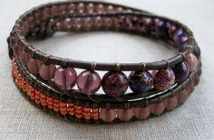 Copper Coast - double leather wrap coastal bracelet with purple jasper - by SeaSide Strands