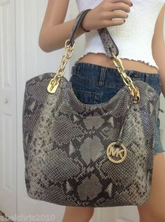 Michael Kors Lilly LARGE Python Dark Sand leather Tote Shoulder Bag Purse