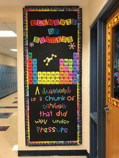Science Bulletin Boards, School Bulletin Boards, School Classroom, Classroom Door, Teacher Door Decorations, Science Classroom Decorations, Classroom Themes, Science Room, Teaching Science