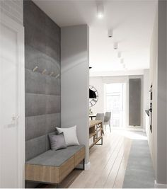 An option to integrate a bench with a wardrobe in the drop zone close to the entrance door. Entrance Foyer, House Entrance, Entryway Decor, Hall House, Entryway Ideas, Hallway Ideas, Entry Hall, Flur Design, Hall Design
