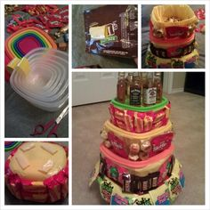 Candy cake: tupperware containers with colorful lids wrapped in tissue paper + duct tape for the candy and to fasten the containers to each other. I also filled each container with extra candy
